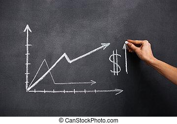 手, 图, 美元, 增长图表, 在上, 黑板