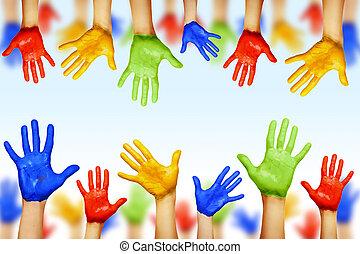 手, 在中, 不同, colors., 文化, 同时,, 少数民族的不同