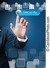手, 在中, 商业妇女, 推, a, 安全, 按钮, a, 接触屏幕, 接口