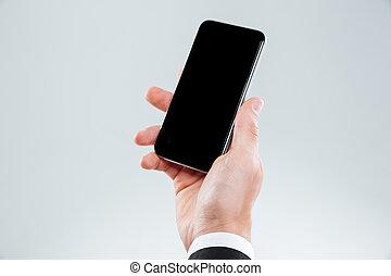 手, 在中, 商人, 握住, 空白屏幕, smartphone