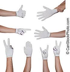 手, 在中, 手套, 做, simbols, 隔离, 在怀特上, 背景