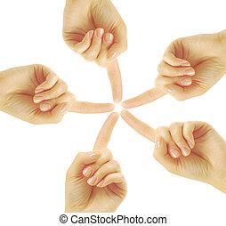 手, 在中, 配合, 形成, the, 星形状