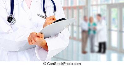 手, 在中, a, 医学, 医生。