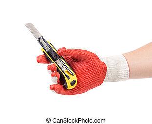 手, 在, 手套, 握住, knife.