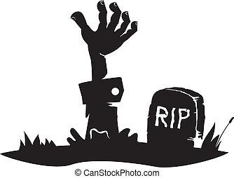 手, 墓, 手を伸ばす