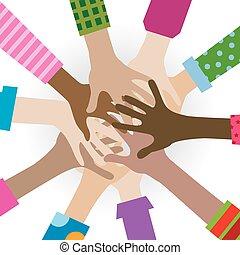 手, 多样化, 一起