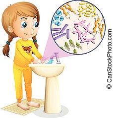 手, 女の子, 流し, 洗浄