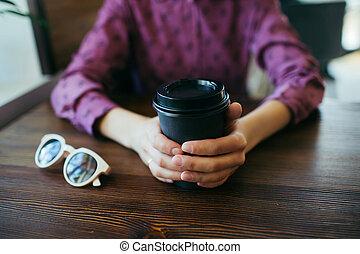 手, 女性, クローズアップ, coffee., カップ