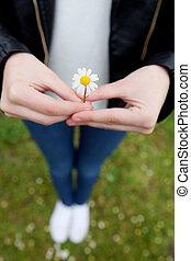 手。, 女, 花, 彼女