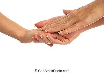 手, 子を抱いている母親