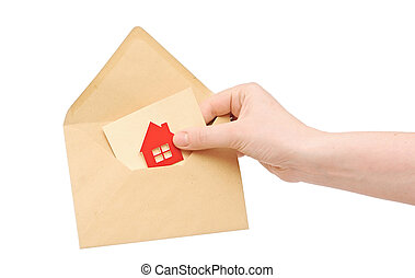 手, 家, ブラウン, 女性, アイコン, 封筒