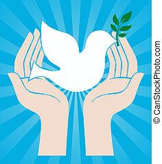手, 平和, 鳩, 保有物, 印