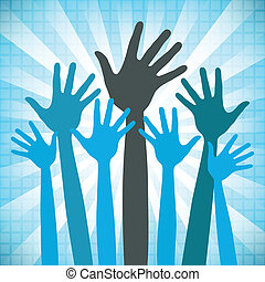 手, 开心, 团体, 大, design.