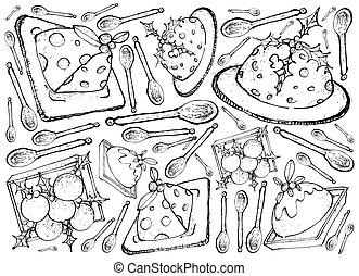手, 引かれる, の, 伝統的である, クリスマス プディング, 背景