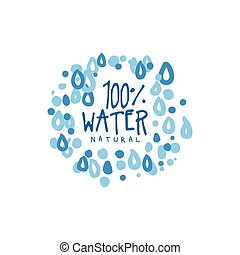 手, 引かれる, サイン, の, 純粋な水, ∥ために∥, ロゴ, ∥あるいは∥, バッジ, ∥で∥, テキスト