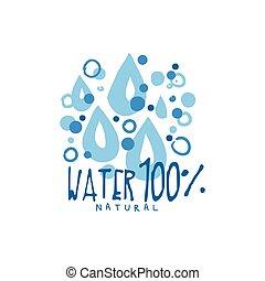 手, 引かれる, サイン, の, 純粋な水, 低下, ∥ために∥, ロゴ