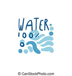 手, 引かれる, サイン, の, 純粋な水, 波, ∥ために∥, ロゴ, テキスト