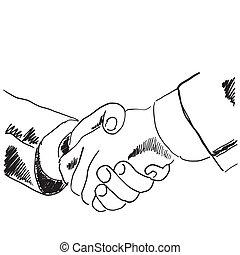 手, 引かれる, スケッチ, イラスト, の, a, 握手