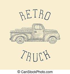 手, 引かれる, 刻まれる, レトロ, 型, ピックアップ, truck., ベクトル