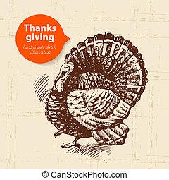 手, 引かれる, 型, 感謝祭, 日, イラスト