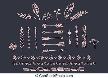 手, 引かれる, 型, 矢, 羽, 仕切り, そして, 花の要素
