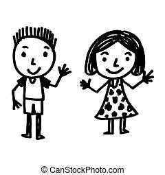 手, 引かれる, 子供, 漫画
