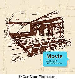 手, 引かれる, 映画, illustration., スケッチ, 背景