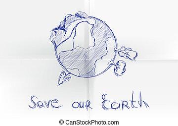 手, 引かれる, 漫画, 地球