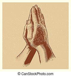 手, 引かれる, 祈ること, グランジ, 手, ポスター