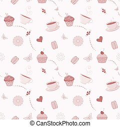 手, 引かれる, seamless, パターン, ∥で∥, cupcakes, macaroons, そして, ティーカップ