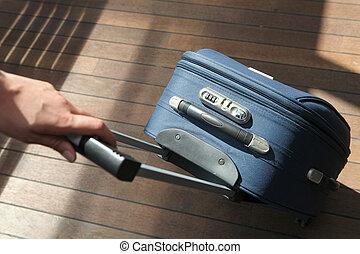 手, 引く, スーツケース