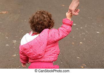 手, 彼の, 母, 把握, 子供