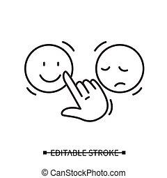 手, 微笑, 选择, 积极, 反馈, icon.