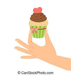 手, 心, 赤, cupcake