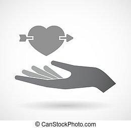 手, 心, 隔離された, 穴を開けられる, 矢