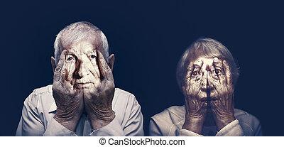 手, 恋人, 年配, 顔, 閉じられた, 肖像画