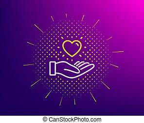 手。, 愛, 印。, icon., 心, 把握, ベクトル, 大使, 友人, 線, ブランド