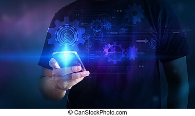 手, 感動的である, smartphone, インターフェイス, 事実上, screen.