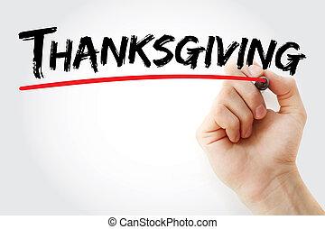 手, 感謝祭, 執筆