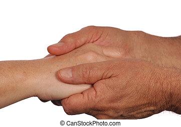 手, 慰めとなる