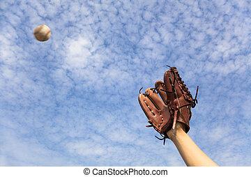 手, 手袋, つかまえること, 野球ボール, 準備ができた