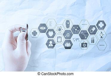 手, 把握, 聴診器, 提示, 医学の概念, 上に, しわにされたペーパー, 背景
