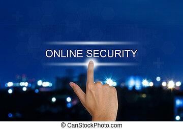 手, 押す, オンラインで, セキュリティー, ボタン, 上に, タッチスクリーン