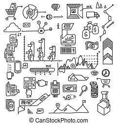 手, 拖拉, 心不在焉地乱写乱画, 元素, 银行, 商业财政, analytics, 收入