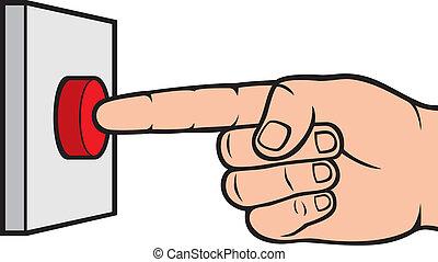 手, 按壓, 警報, 按鈕