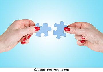 手, 接続, パズル小片