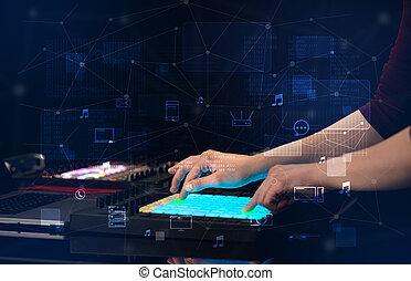 手, 控制器, midi, 混合, 多媒体, 演奏音乐, 概念