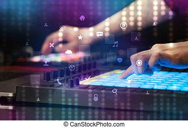 手, 控制器, midi, 社会, 混合音乐, 媒介, 概念