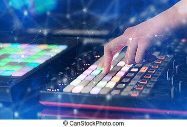 手, 控制器, midi, 连通性, 混合音乐, 概念
