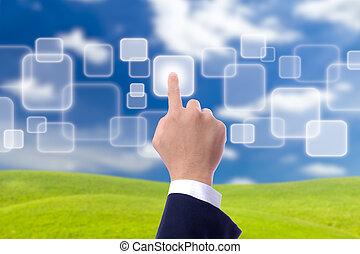 手, 推, 按鈕, 上, 藍色的天空